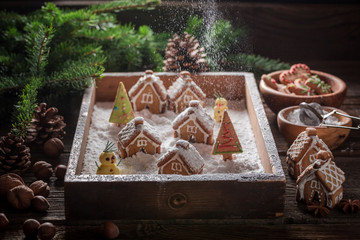 Adorable Christmas gingerbread village with trees and snow Fototapete