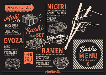 Sushi menu restaurant, food template.