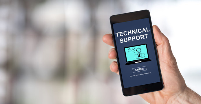 Technical support concept on a smartphone