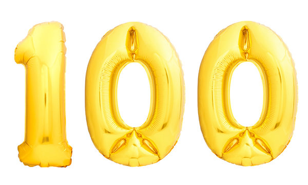 Golden number 100 one hundred made of inflatable balloon