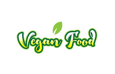 vegan food word font text typographic logo design with green leaf