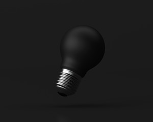 Idea Design Concept, Bulb on black background - minimal idea conceptual 3d illustration.