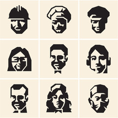 People icons. Occupations. Professions. Vector people collection.