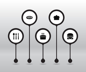 Set Of 5 Culinary Icons Set.Collection Of Saucepan, Loaf, Pepperoni And Other Elements.