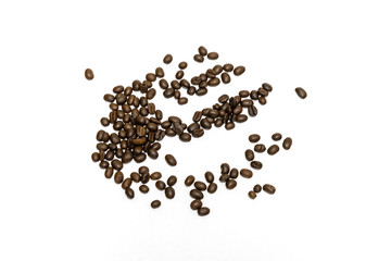 Coffee beans isolated on white background. Close up image.