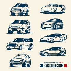 Car collection. Drawing cars set