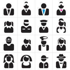 Professions icons set. Occupations symbols collection.