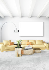 White bedroom or livingroom minimal style interior design with stylish wall and sofa. 3D Rendering. Conept of show room