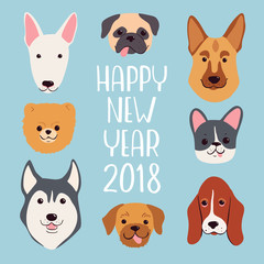 Happy New Year 2018 greeting card. Vector hand drawn dogs set.