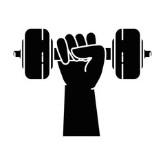 hand human with weight lifting isolated icon