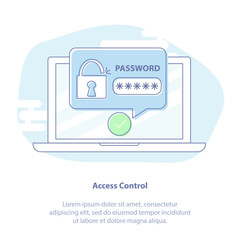 Laptop with password notification, login form and lock. Vector illustration, concept of security, personal access, user authorization, login or sign in form icon, internet protection