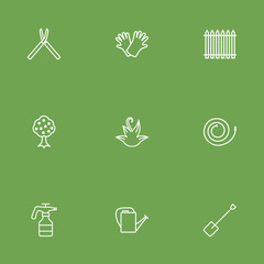 Set Of 9 Household Outline Icons Set.Collection Of Shears, Palisade, Bailer And Other Elements.