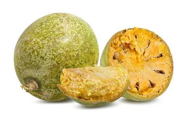 bael fruits or wood apple fruit (Aegle marmelos) on a white