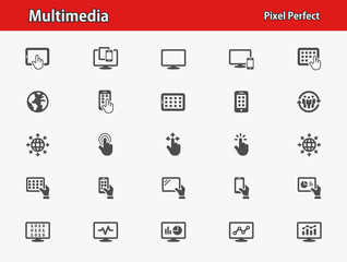 Multimedia Icons. Professional, pixel perfect icons optimized for both large and small resolutions. EPS 8 format.