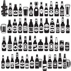 Vector black beer bottles icons set. Beer can.