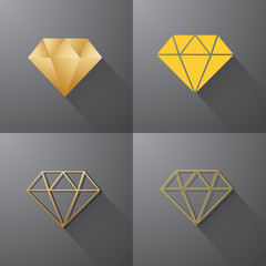 Gold Diamond Jewelry Gem Colorful Polygon Logo vector
