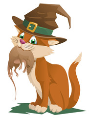 Funny ginger cat in a halloween hat holding rat. Happy Halloween! Cartoon styled vector illustration. No transparent objects. Isolated on white.