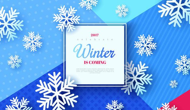 Christmas background, white snowflakes on blue