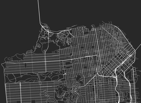 Vector black map of San Francisco