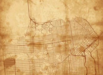Vector vintage map of San Francisco