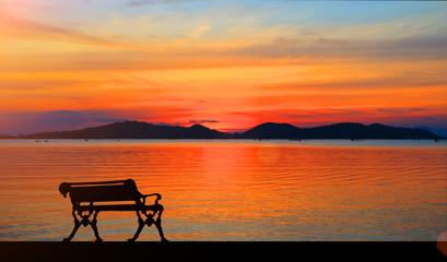 beautiful sunset in the lake