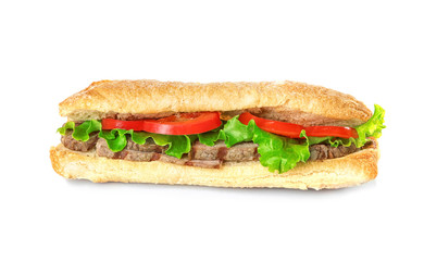 Delicious steak sandwich isolated on white