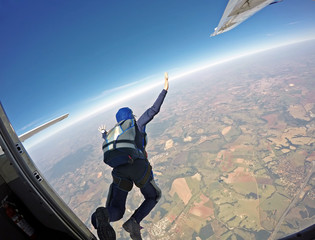 Parachutist jump from the plane.