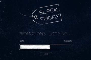 black friday price tag and promotion loading progress bar
