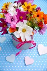 Fototapete - Grußkarte - bunter Blumenstrauß - Sommerblumen