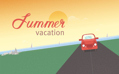 Red retro car riding along road against sea with sail yachts and sunset sky on background. Summer vacation and holidays, tourism and travel. Modern colored vector illustration in flat style.