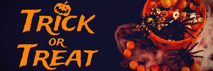 Composite image of graphic image of trick or treat text