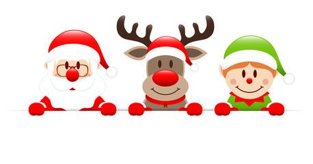 Santa, Rudolph & Elf Banner