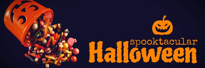 Composite image of graphic image of spooktacular halloween text
