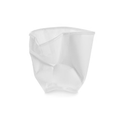 Crushed paper cup on white background