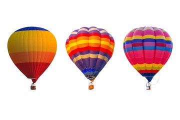 Foto op Plexiglas Ballon Triple hot air balloons isolated on white background