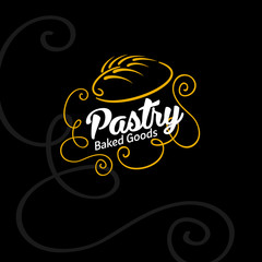 Bakery ornament logo. Bread and spike on dark background.