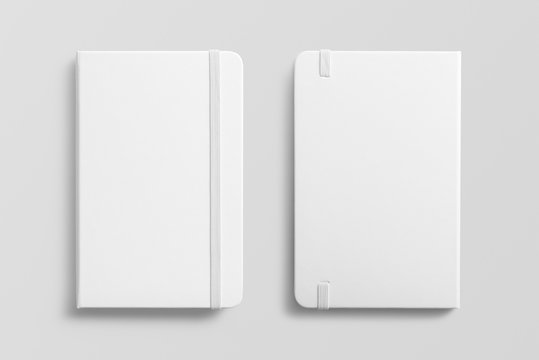 Blank photorealistic notebook mockup on light grey background, front and back view.