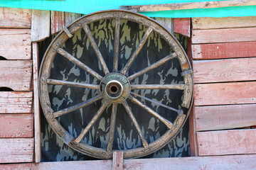 Old Cart Wheel at Window in Aksaray,Turkey