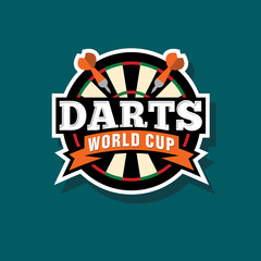 Darts logo. Darts world cup emblem. Target and arrows in a circle with the letters and ribbons.