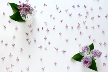 fresh lilac flowers, floral pattern, flat lay, top view