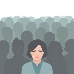 person in crowd, people group, business leadership