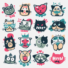 Cartoon cat heads vector illustration cute animal funny characters face domestic pet
