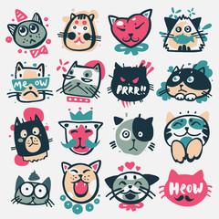 Cartoon cat heads vector illustration cute animal funny characters face domestic pet