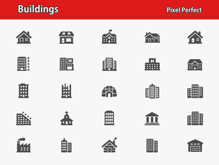 Buildings Icons. Professional, pixel perfect icons optimized for both large and small resolutions. EPS 8 format.