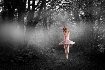 Composite image of ballerina standing en pointe