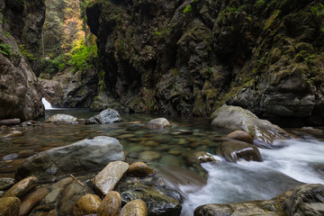River flowing down the beautiful canyon in the Canadian Landscape. Taken in Lynn Valley, North Vancouver, British Columbia, Canada.