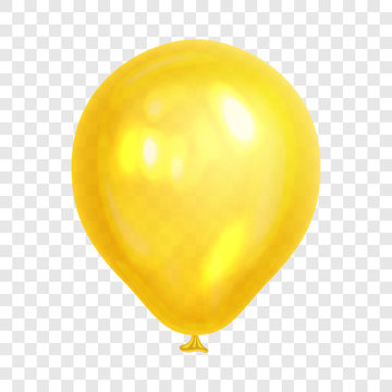 Realistic yellow balloon, isolated on transparent background. Balloon for birthday party, celebration, festival. Flying glossy balloon. Holiday vector Illustration.