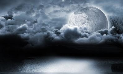 Moon lighting the water