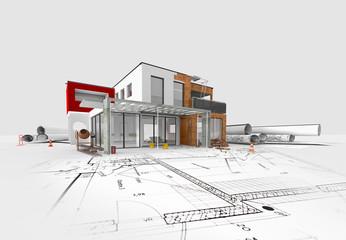 Maquette et esquisse de maison moderne d'architecte