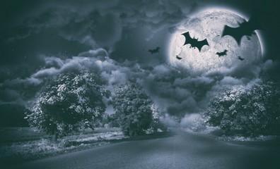 Composite image of digital image of silhouette bat